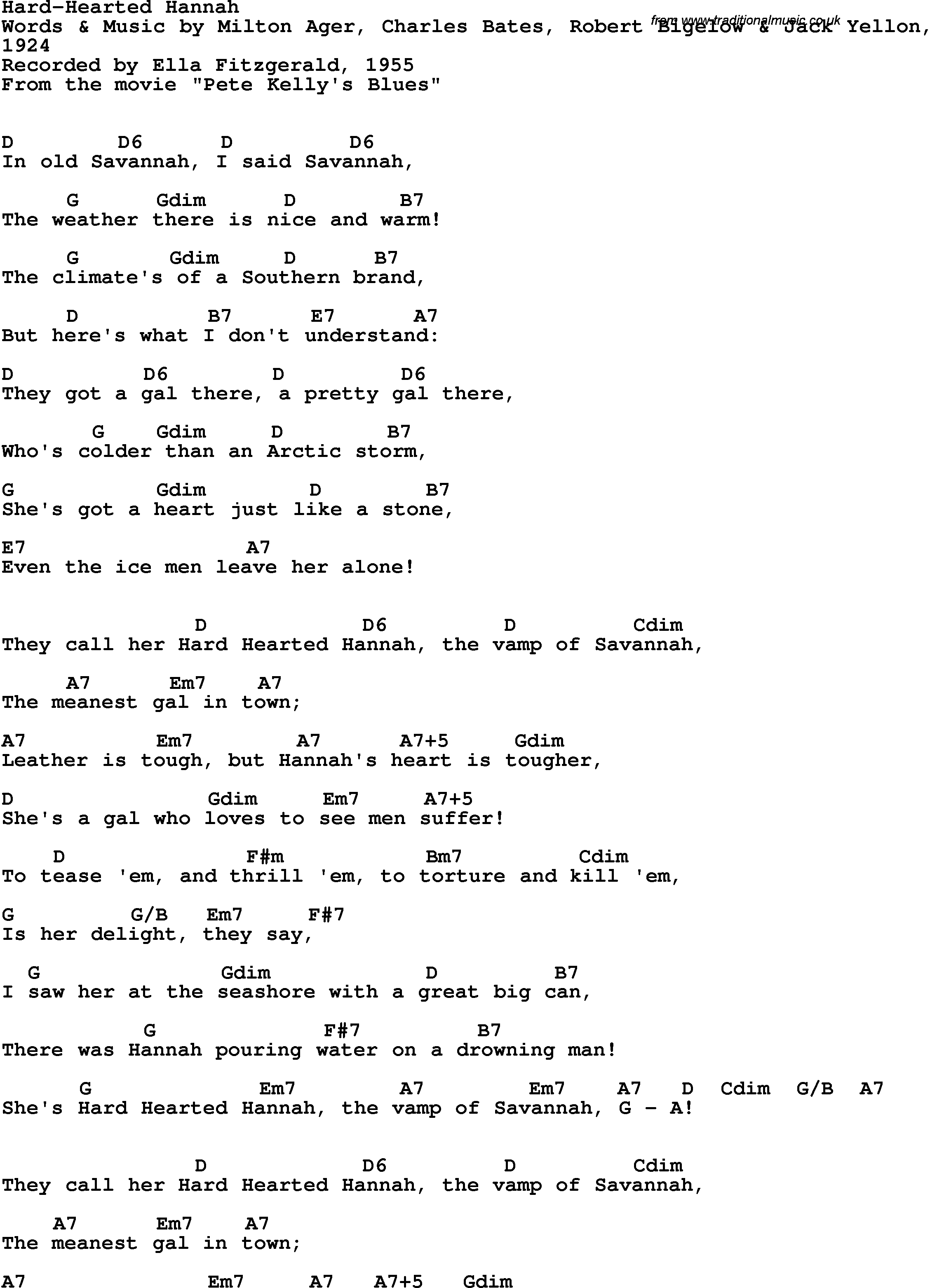 Hard Hearted Hannah Ella Fitzgerald 1955 Ella Fitzgerald Music Lyrics