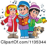 1135344 Cartoon Of Children Singing Christmas Carols Royalty Free Vector Clipart Free Picture of Children Singing